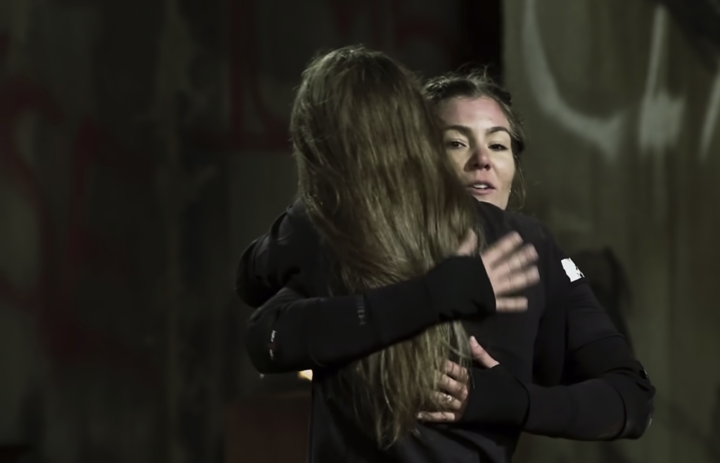 Tori and Jenna hugging after Elimination